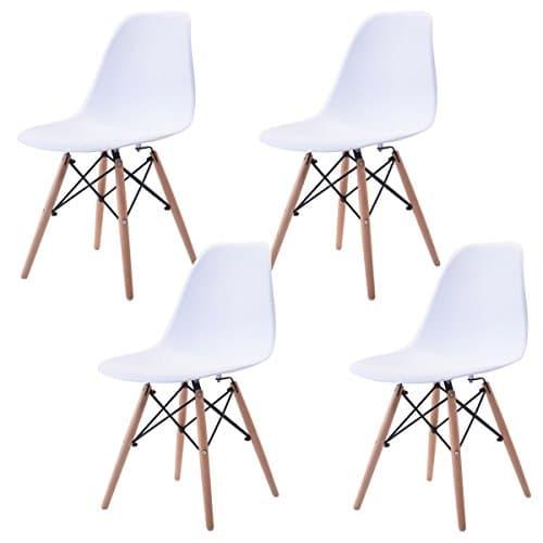 N b f set von 4 wei en stuhl f r office lounge dining for Design stuhl eiffel