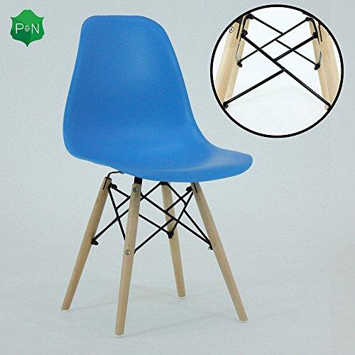 P & N Homewares® Romano DS Moda Stuhl Kunststoff Holz Retro Esszimmer Stühle Weiß Schwarz Grau Rot Gelb Rosa Grün Blau