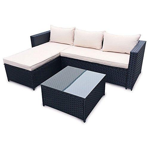 POLY RATTAN Set Gartenmöbel Rattan-Lounge Gartenset BRAUN oder SCHWARZ Sofa Garnitur Couch-Eck
