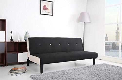 Paulo Schlafcouch / Schlafsofa / Klappcouch Polyester schwarz-weiß