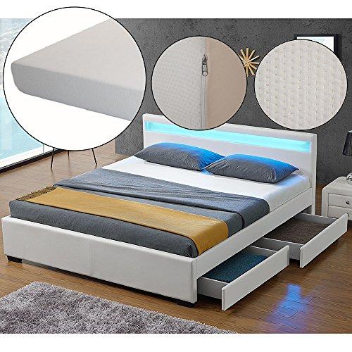 polsterbett lyon 140 x 200 cm wei mit lattenrost kaltschaummatratze m bel24. Black Bedroom Furniture Sets. Home Design Ideas