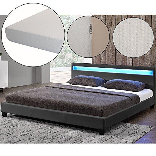 polsterbett paris 140 x 200 cm dunkelgrau mit. Black Bedroom Furniture Sets. Home Design Ideas