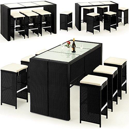 poly rattan barset 6 hocker inkl sitzauflagen gartenbar sitzgruppe theke bar m bel24. Black Bedroom Furniture Sets. Home Design Ideas