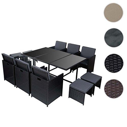 Mendler Poly-Rattan Garten-Garnitur Kreta, Lounge-Set Sitzgruppe 10 Sitzplätze