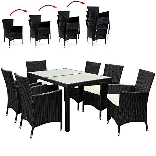 Deuba® Poly Rattan Sitzgruppe 6+1 Schwarz | 6 stapelbare Stühle | 7cm dicke Sitzauflagen Creme | wetterfestes Polyrattan [ Modell- & Farbauswahl 4+1 / 6+1 / 8+1 ] - Gartenmöbel Gartenset Lounge Sitzgarnitur Essgruppe Set