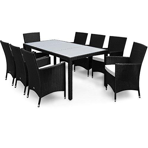 Deuba Poly Rattan 8+1 Sitzgruppe Schwarz | 7cm dicke Sitzauflagen creme | Milchglastisch | wetterfestes Polyrattan | abnehmbare, waschbare Bezüge - Essgruppe Sitzgarnitur Gartenmöbel