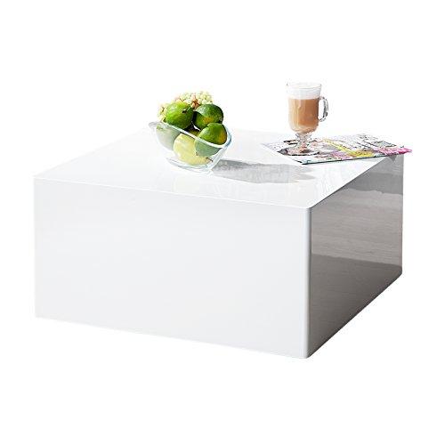 Puristischer Design Couchtisch MONOBLOC L weiß Hochglanz quadratisch Tisch Beistelltisch