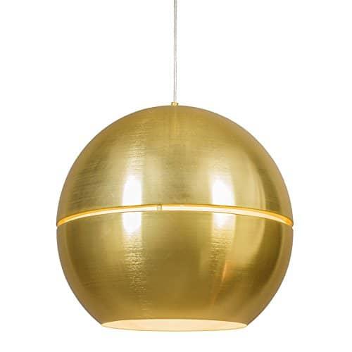 QAZQA Art Deco/Design/Modern/Retro/Esstisch/Esszimmer/Pendelleuchte/Pendellampe/Hängelampe/Lampe/Leuchte Slice 50 Gold/Messing/2-flammig/Innenbeleuchtung/Wohnzimmer/Schlaf