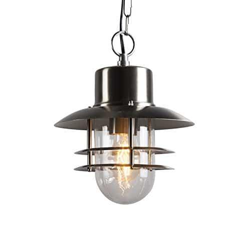 QAZQA Modern Pendel-Außenleuchte Shell Stahl/Silber/nickel matt/Außenbeleuchtung Glas/rostfreier Stahl/Rund LED geeignet E27 Max. 1 x 60 Watt