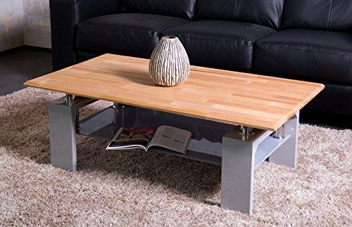 raphael vandoor couchtisch diana massiv buche und hochglanz grau lackiertes gestell mit grauem. Black Bedroom Furniture Sets. Home Design Ideas