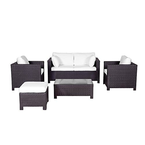 lounge set rattan dunkelbraun 4 sitzer auflagen beige milano m bel24. Black Bedroom Furniture Sets. Home Design Ideas