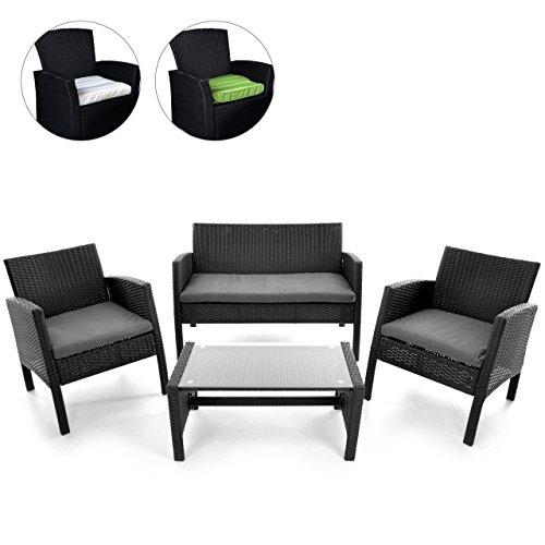 Rattan Set 4tlg mit Glastisch Garnitur Gartenmöbel Sitzgruppe Poly Rattan…
