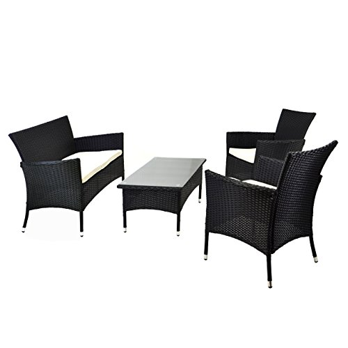 nexos rattan set 4tlg mit glastisch wei garnitur sitzgruppe gartenm bel poly rattan 4 teilig 4. Black Bedroom Furniture Sets. Home Design Ideas