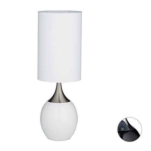 Relaxdays Nachttischlampe REEVA, ovale Form, großer Stoffschirm, Tischlampe, H x B x T: 67 x 23 x 23 cm, verschiedene Farben