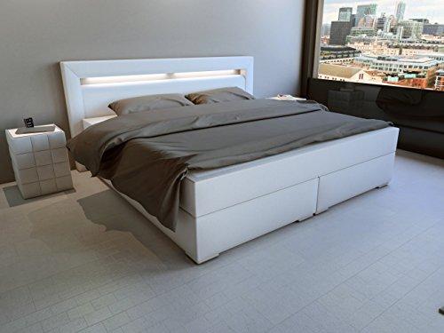 SAM® Design Boxspringbett mit Samolux®-Bezug in weiß, LED-Beleuchtung, Bonellfederkern-Matratze, Box mit Holzrahmen und Nosag-Unterfederung, extra dickem Topper, hochwertigen chromfarbenen-Füßen, optimale Einstiegshöhe, 180 x 200 cm [521407]