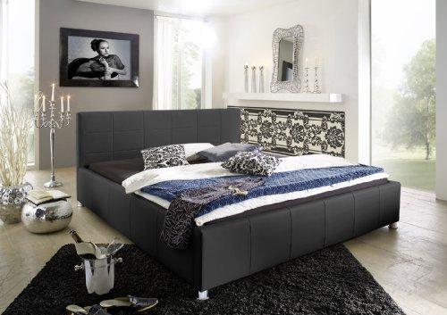 SAM Polsterbett 100x200 cm Katja in schwarz Kunstleder, abgestepptes Kopfteil, Chromfüße, auch als Wasserbett geeignet