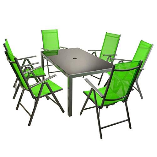 Nexos Sitzgarnitur 7tlg Set Gartengarnitur Garnitur Sitzgruppe Grün Glastisch Alu