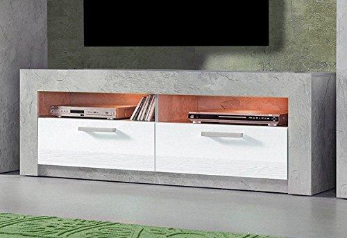TV Lowboard 685142 TV Unterschrank TV Element 144cm beton / weiß Hochglanz
