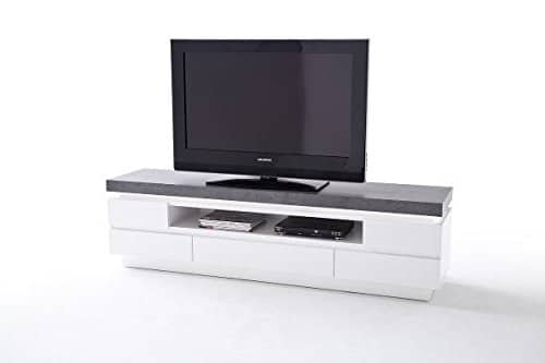 tv lowboard tv board tv tisch atlanta wei beton dekor. Black Bedroom Furniture Sets. Home Design Ideas