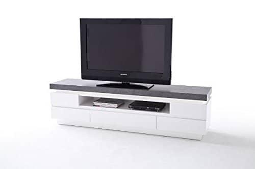 TV-lowboard, TV-Board, TV-Tisch Atlanta, weiß, Beton-Dekor