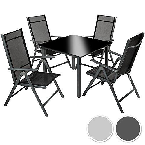 TecTake Aluminium Sitzgarnitur 4+1 Sitzgruppe Gartenmöbel Tisch & Stuhl Set - diverse Farben -
