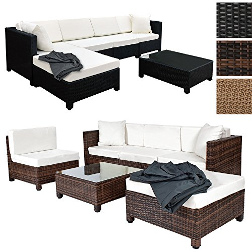 tectake hochwertige aluminium luxus lounge mit 2 bezugssets poly rattan sitzgruppe sofa. Black Bedroom Furniture Sets. Home Design Ideas