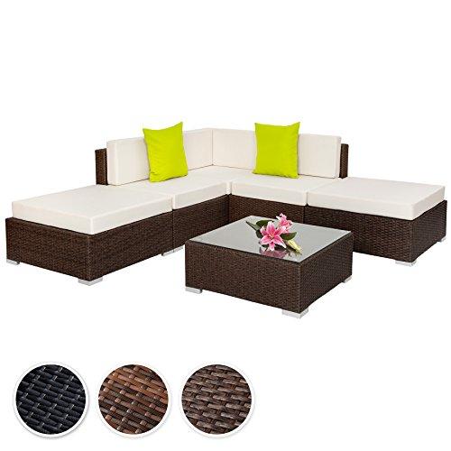 TecTake Hochwertige Aluminium Polyrattan Lounge Sitzgruppe mit Glastisch inkl. Kissen und Klemmen - diverse Farben -