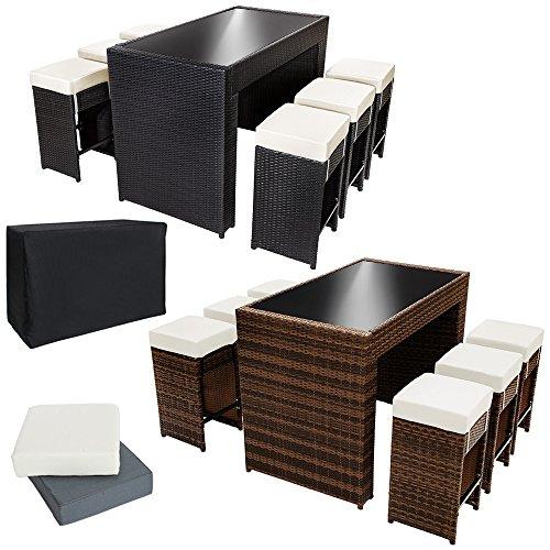 tectake luxus poly rattan aluminium bar set mit 6 barhocker 2 bezugsets schutzh lle. Black Bedroom Furniture Sets. Home Design Ideas