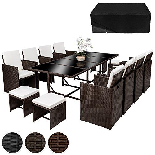 TecTake Poly Rattan 8+4+1 Sitzgruppe 8 Stühle 4 Hocker 1 Tisch + Schutzhülle & Edelstahlschrauben - diverse Farben -