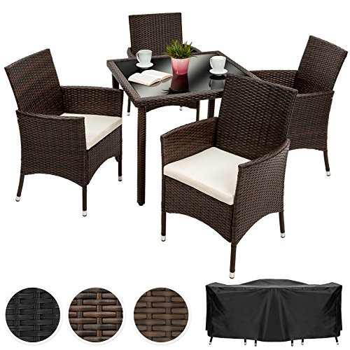 tectake poly rattan gartenm bel gartengarnitur essgruppe 4 1 mit edelstahlschrauben diverse. Black Bedroom Furniture Sets. Home Design Ideas