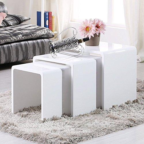 UEnjoy Satztisch Hochglanz Beistelltisch Set Weiß Couchtisch Beistelltisch 3er Set Satztische