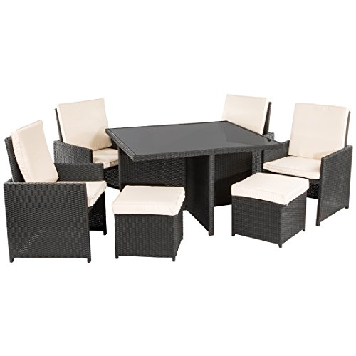 ultranatura poly rattan lounge set palma serie 9 teilig tisch 4 sessel 4 hocker inkl. Black Bedroom Furniture Sets. Home Design Ideas