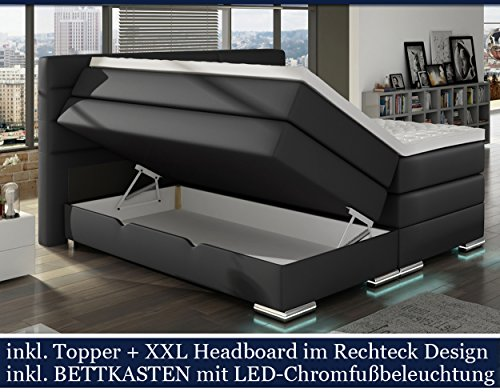 xxl roma boxspringbett mit bettkasten designer boxspring bett led nachtschwarz rechteck design. Black Bedroom Furniture Sets. Home Design Ideas