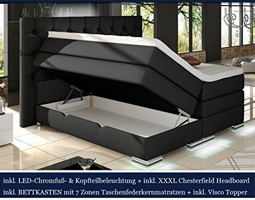 XXXL MAILAND Boxspringbett mit Bettkasten Designer Boxspring Bett Chesterfield LED SCHWARZ CHESTERFIELD DESIGN
