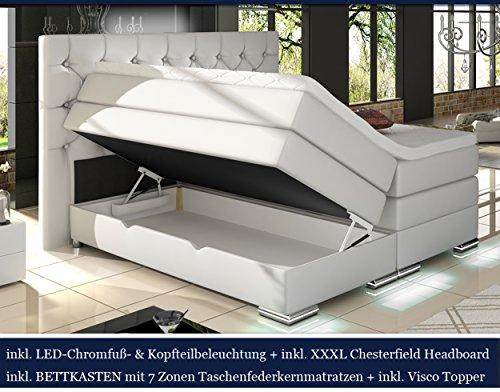 XXXL MAILAND Boxspringbett mit Bettkasten Designer Boxspring Bett Chesterfield LED WEISS CHESTERFIELD DESIGN