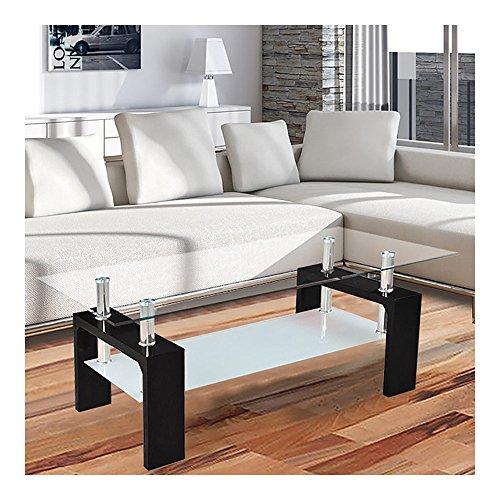 Corium Couchtisch - Wohnzimmertisch (100 x 50 x 45 cm) (Glassplatte) (weiss oder schwarz) Tisch/Glastisch/Beistelltisch/Wohnzimmer/Hochglanz