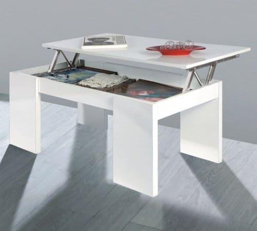 Home Fashion due-home Innovationen Kendra Couchtisch weiß mit Tablett Klappsitz weiß