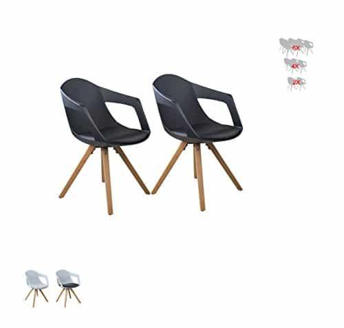 i-flair® Set Esszimmerstuhl / Sessel / Küchenstuhl MIT ARMLEHNE aus Holz mit Sitzschale + Sitzkissen aus Kunstleder