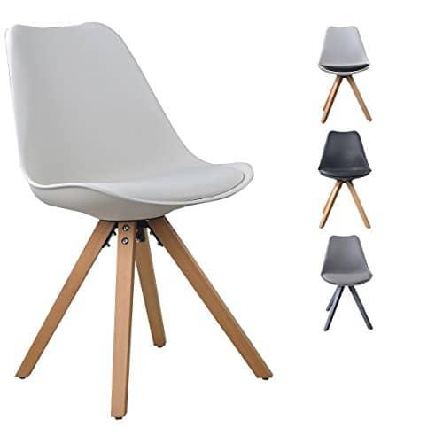 i-flair® Set Esszimmerstuhl / Sessel / Küchenstuhl aus Holz mit Sitzschale + Sitzkissen aus Kunstleder (Weiß / Schwarz / Grau / Schwarz - Weiß)