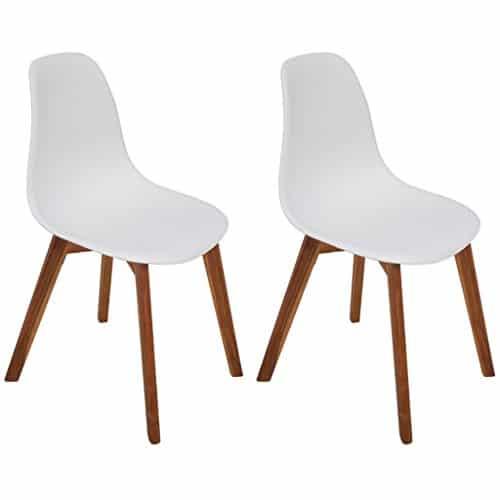 vidaXL 2x Esszimmerstuhl Akazienholz Weiß Küchenstuhl Stuhlgruppe Essstuhl