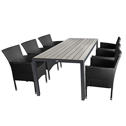 multistore 2002 7tlg gartengarnitur aluminium gartentisch tischplatte polywood grau 205x90cm. Black Bedroom Furniture Sets. Home Design Ideas