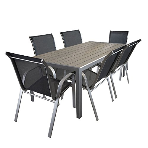 7tlg gartengarnitur aluminium gartentisch mit polywood tischplatte 205x90cm gartenstuhl. Black Bedroom Furniture Sets. Home Design Ideas
