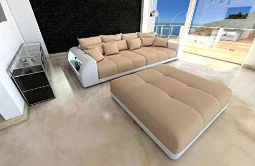 bigsofa miami beige weiss megasofa mit led beleuchtung m bel24. Black Bedroom Furniture Sets. Home Design Ideas