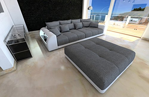 bigsofa miami grau weiss megasofa mit led beleuchtung big sofa m bel24. Black Bedroom Furniture Sets. Home Design Ideas