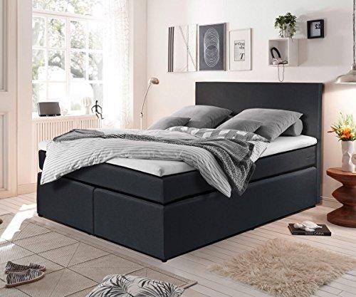 bett elexa schwarz 140 x 200 cm matratze und topper federkern boxspringbett m bel24. Black Bedroom Furniture Sets. Home Design Ideas