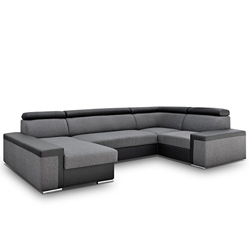 big ecksofa dimaro mit verstellbare kopfsttzen polsterecke mit bettkasten und schlaffunktion. Black Bedroom Furniture Sets. Home Design Ideas