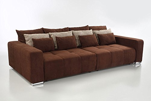 big sofa in braun mit geteilter sitz liegefl che schlaffunktion 4 gro e 4 mittlere und 4. Black Bedroom Furniture Sets. Home Design Ideas