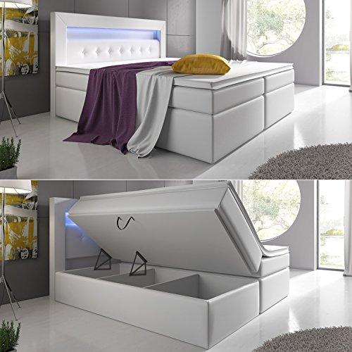 Boxspringbett mit Bettkasten LED Kopflicht Hotelbett Venedig Lift Supreme - MÖBEL24