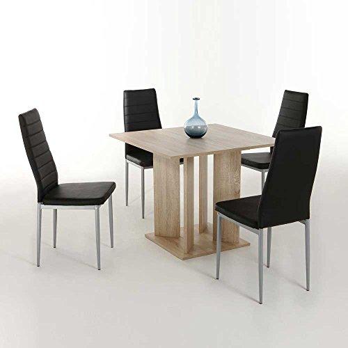 essgruppe in eiche sonoma schwarz s ulentisch 5 teilig pharao24 m bel24. Black Bedroom Furniture Sets. Home Design Ideas