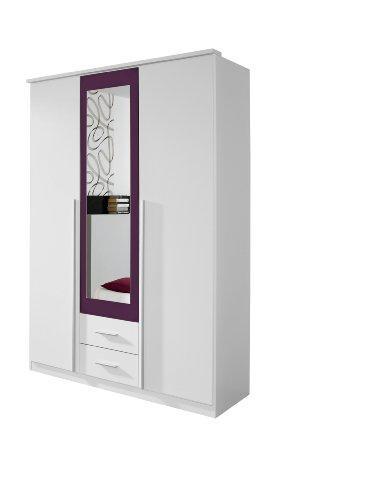 rauch kleiderschrank 3 t rig mit spiegel wei alpin absetzung brombeer nachbildung bxhxt. Black Bedroom Furniture Sets. Home Design Ideas